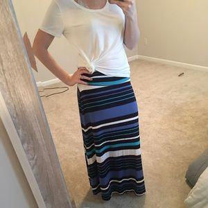 Merona Blue & White Striped Maxi Skirt Size M